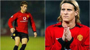 Cristiano Ronaldo y Diego Forlán coincidieron en el Manchester United en la temporada 2004/2004