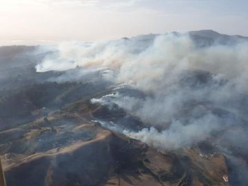 Vista aérea del incendio en Gran Canaria
