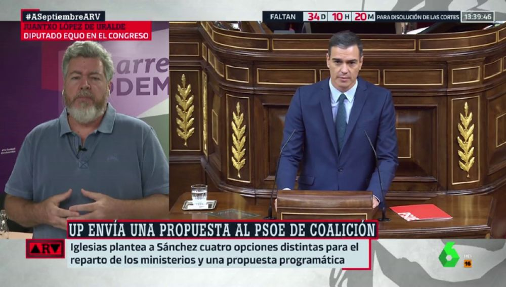 """Juantxo López de Uralde, sobre la nueva propuesta de Podemos: """"Queremos completar las negociaciones que se habían iniciado"""""""
