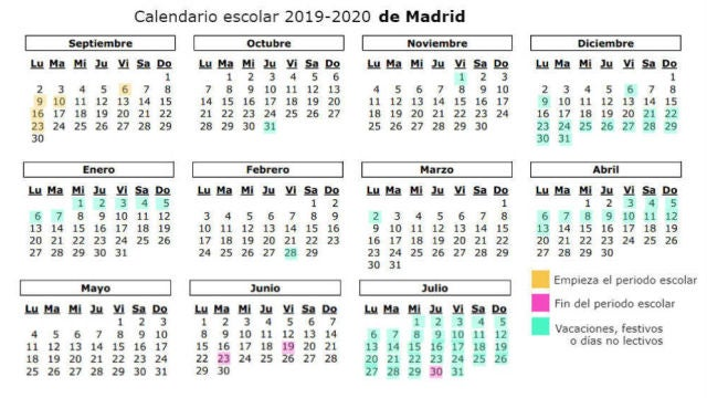Calendario Escolar Asturias 2020 2019.Calendario Escolar 2019 2020 Festivos Puentes Y Vacaciones De