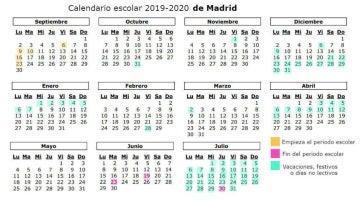 Calendario escolar 2019-2020 en Madrid