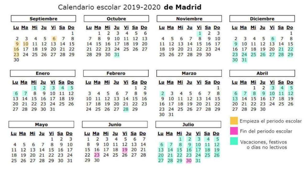 Calendario Academico Madrid.Calendario Escolar 2019 2020 En Madrid Festivos Puentes Y