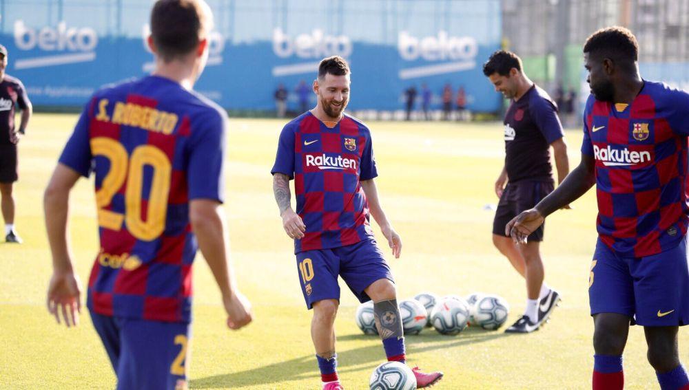 Leo Messi, entrenado con el FC Barcelona