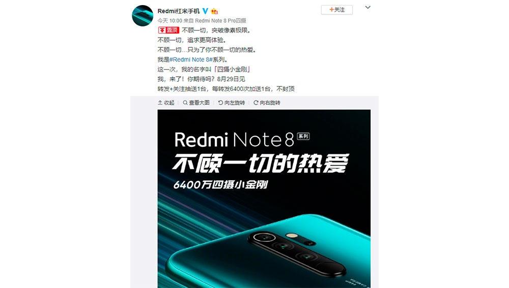 El anuncio en las redes sociales chinas
