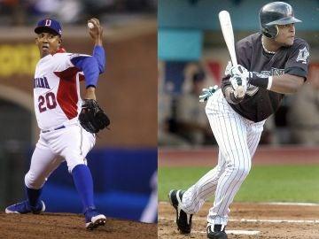 Los exjugadores de béisbol Octavio Dotel y Luis Castillo