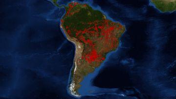 Imagen de la NASA de los incendios de la Amazonia