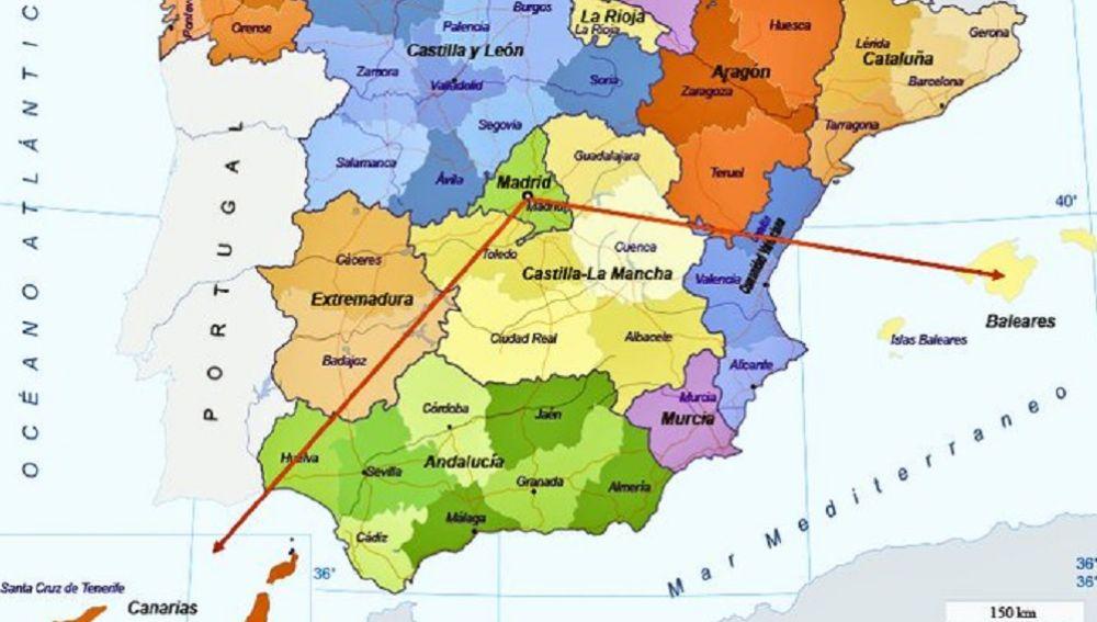 Imagen del mapa de España con las Islas Baleares y Canarias