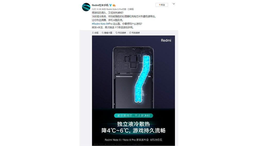Publicación de Redmi en Weibo