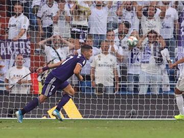 Sergi Guardiola celebra su gol contra el Real Madrid