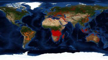 Mapa mundial de los incendios activos en el mundo por los satélites de la NASA