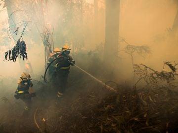 Un grupo de bomberos trabaja en las labores de extinción del incendio forestal declarado este jueves en la localidad coruñesa de Porto do Son.