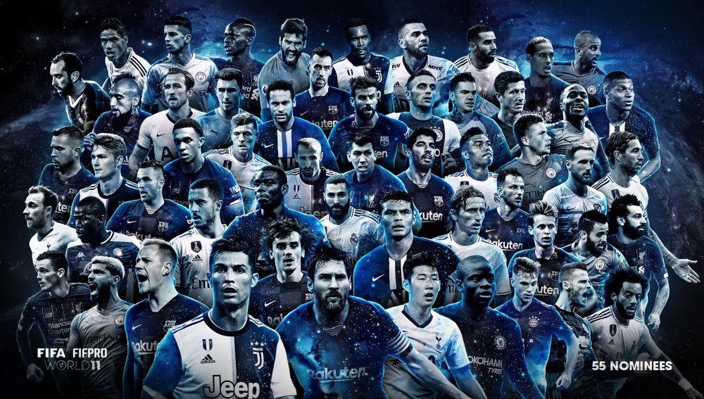 Los 55 nominados al mejor once del mundo