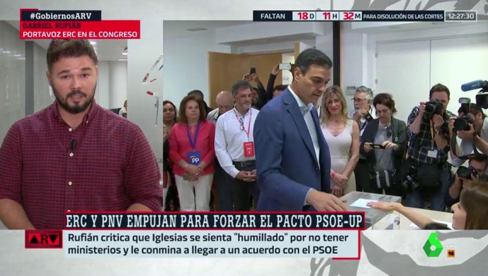 """Gabriel Rufián: """"Pedro Sánchez se equivocó al vetar a Pablo Iglesias. Encabronó el ambiente"""""""