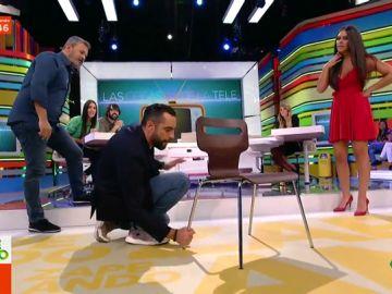 El 'zasca' de Dani Mateo a Miki Nadal en el reto de levantar una silla
