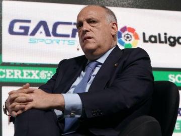 Javier Tebas, en el Soccerex