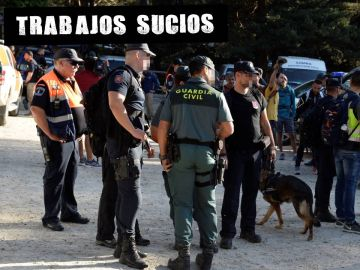 Agentes de la Policía y la Guardia Civil durante el operativo de búsqueda de Blanca Fernández Ochoa