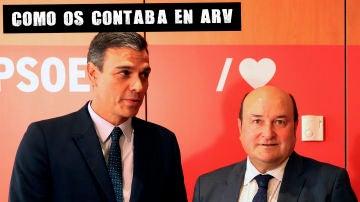 Imagen de Pedro Sánchez junto a Andoni Ortúzar
