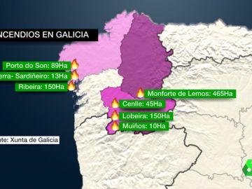 Situación de los incendios en Galicia
