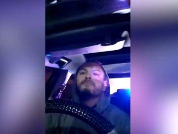 Captura del vídeo que el joven se graba mientras huye de la persecución policial.