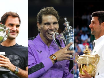 Roger Federer, Rafa Nadal y Novak Djokovic
