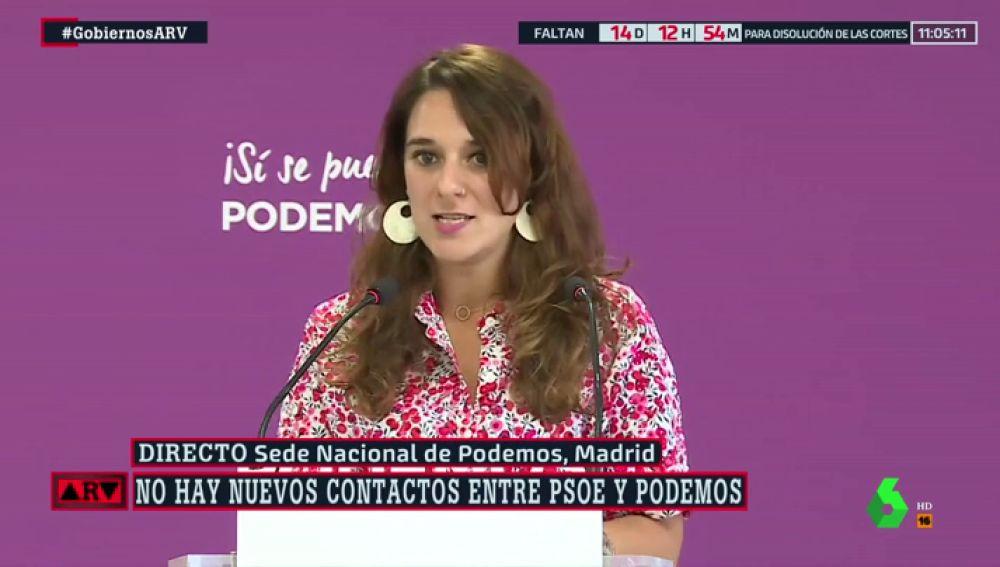 """Noelia Vera: """"Si negociamos desde el punto en el que lo dejamos en julio, en cuestión de horas llegaríamos a un acuerdo con el PSOE"""""""