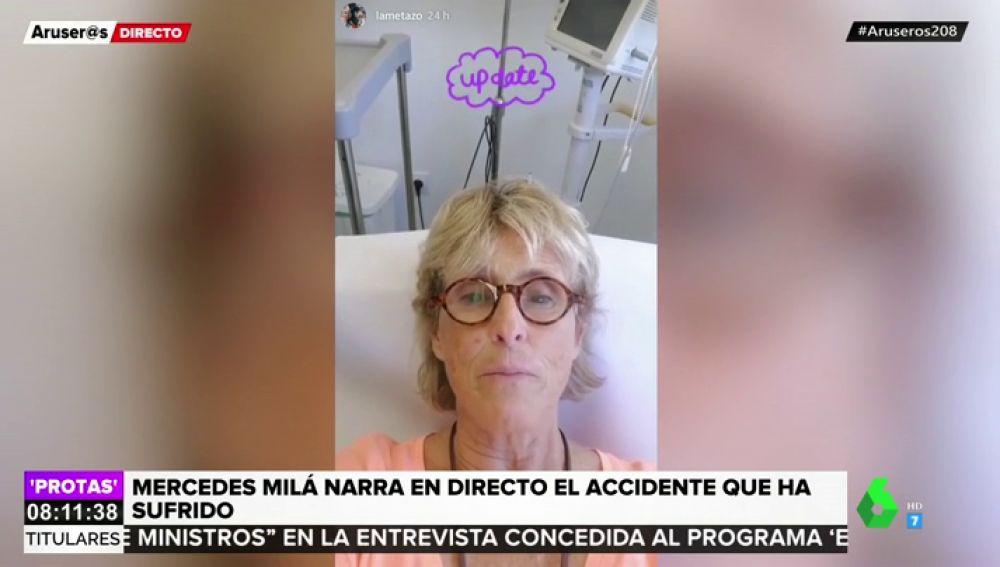 Mercedes Milá cuenta desde el hospital que ha sufrido un accidente