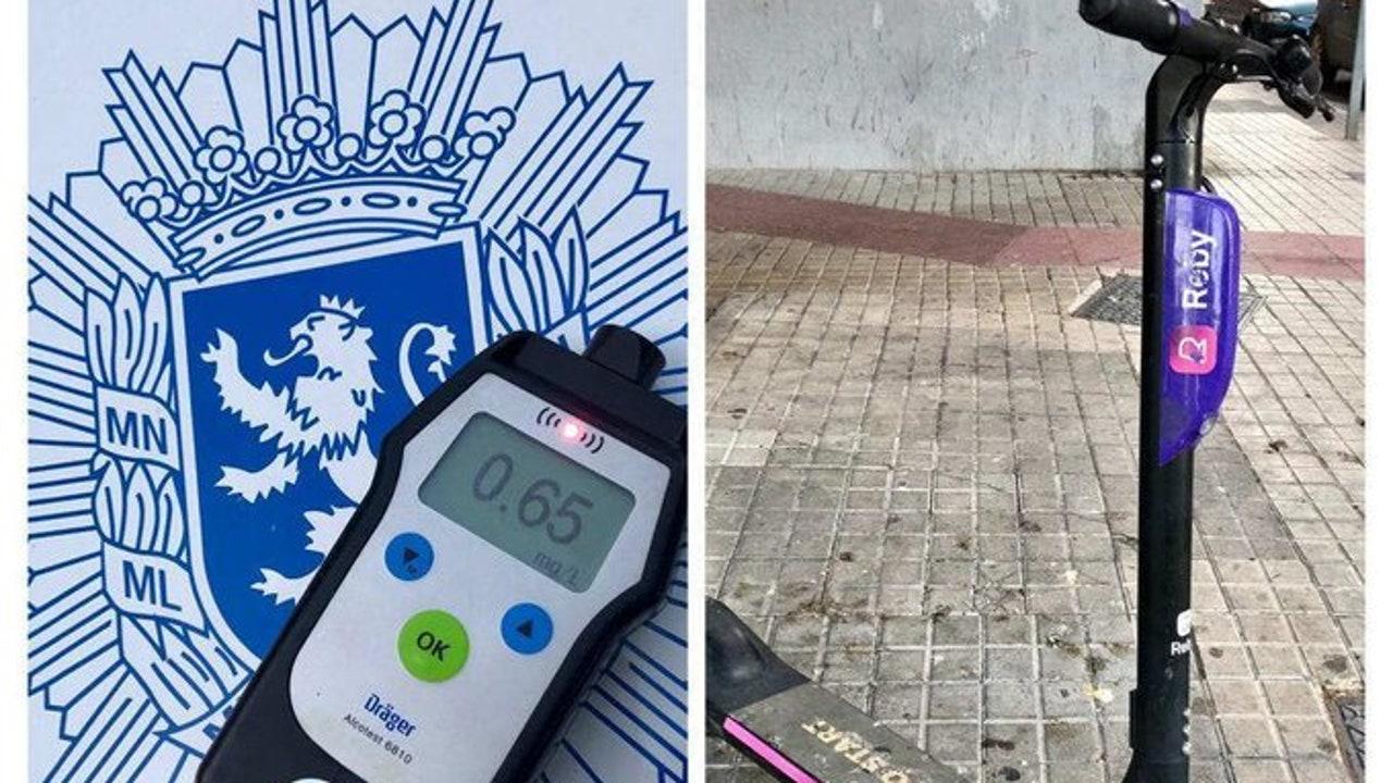 El patinete siniestrado y la prueba de alcoholemia que la Policía practicó a la conductora
