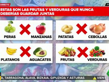 Frutas y verduras que no deben guardarse juntas
