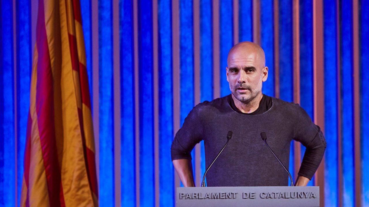 Pep Guardiola, durante su discurso