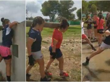 Los ejercicios de la jugadora de la selección de rugby