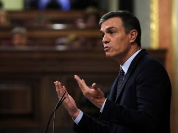 Pedro Sánchez, durante la sesión de control para informar sobre los últimos consejos europeos