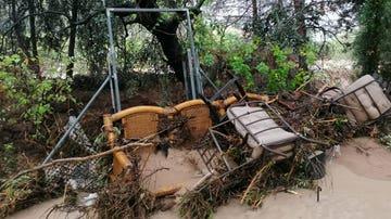 La casa de un particular en Ontinyent, Valencia, destrozada por las lluvias