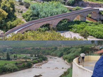 Aspecto del puente antes de la riada y restos del mismo después de la crecida del río