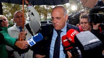Javier Tebas, antes de declarar en el juicio por el presunto amaño del Levante-Zaragoza