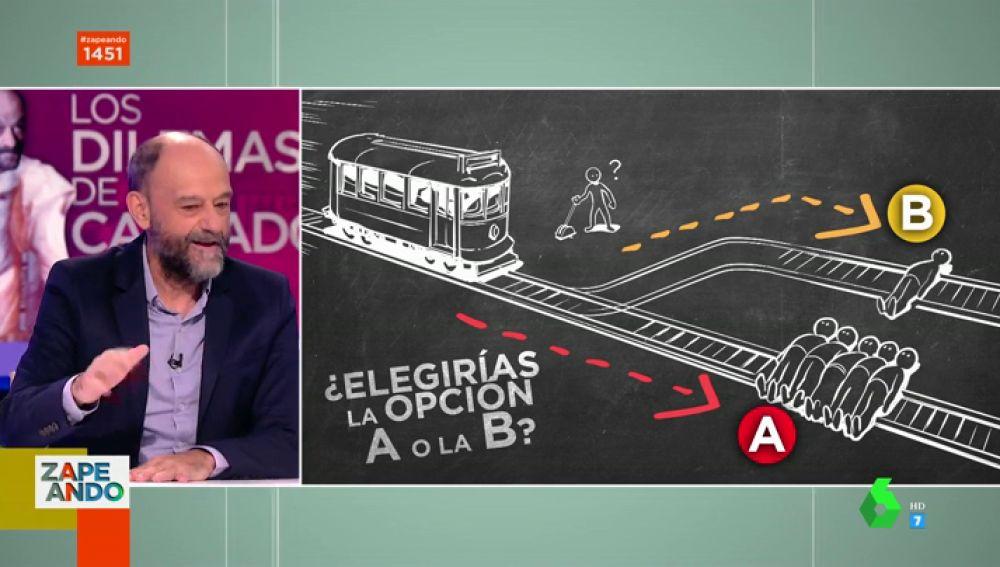 ¿Salvarían de ser arrolladas por un tren a una persona o a otras cinco? Javier Cansado desafía a los zapeadores