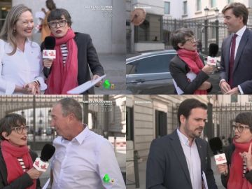 Victoria Rosell, Pablo Montesinos, Thais Villas y Alberto Garzón con Thais Villas