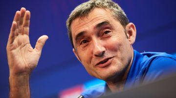 Ernesto Valverde, en una rueda de prensa del Barcelona