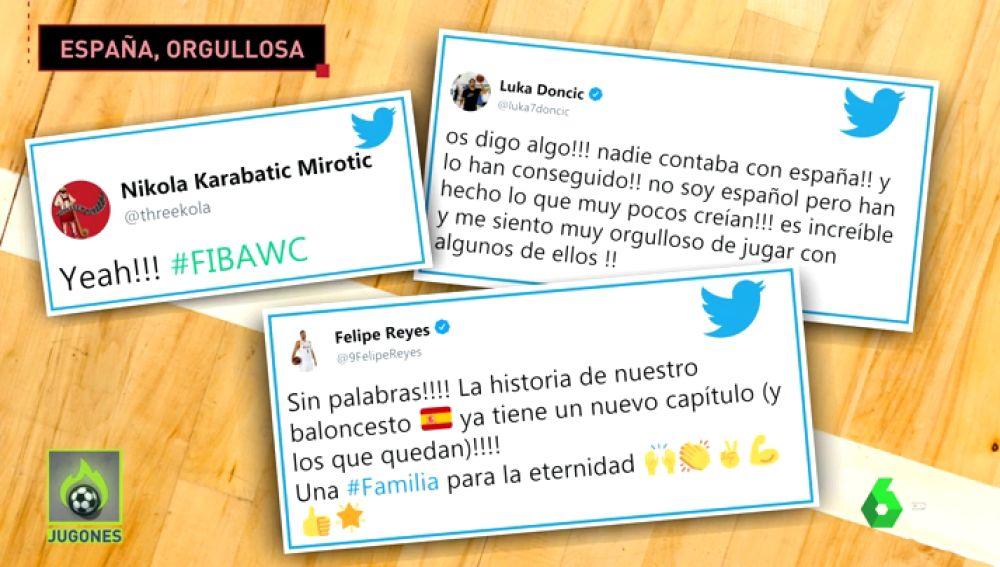 Pau Gasol y Felipe Reyes felicitan a la Selección por su clasificación a la final del Mundial