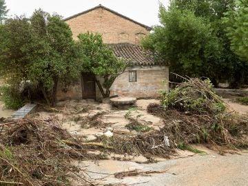 Una casa en Ontinyent donde se desbordó el río Clariano por la Gota Fría