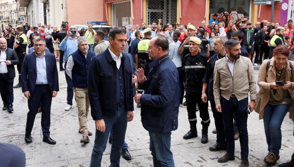 Pedro Sánchez en Orihuela, una de las localidades más afectadas por la gota fría