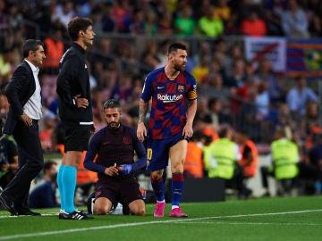 Messi, tras caer lesionado contra el Villarreal