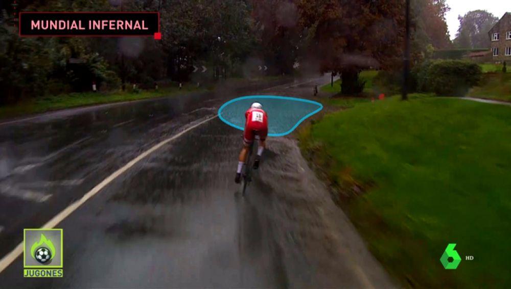 Caos en el Mundial de ciclismo: fuertes trombas de agua provocan duras caídas