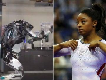 Simone Biles alucina con el robot 'gimnasta'