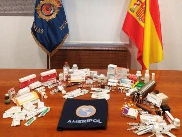 Imagen de parte de los productos incautados en la operación contra el dopaje