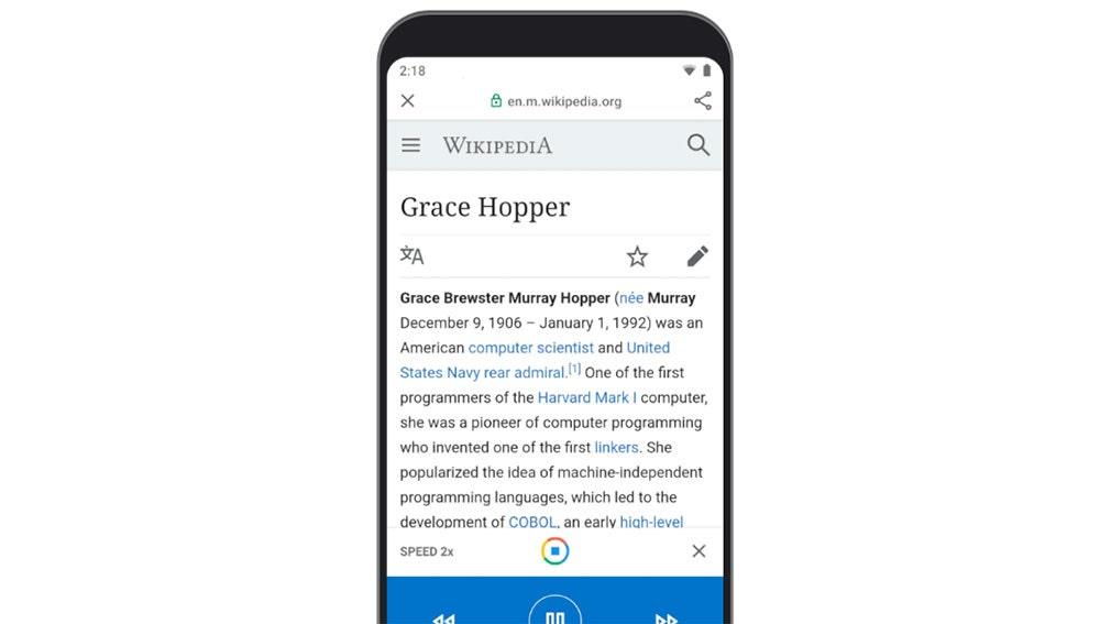 Android 10 Go ahora lee las páginas en voz alta