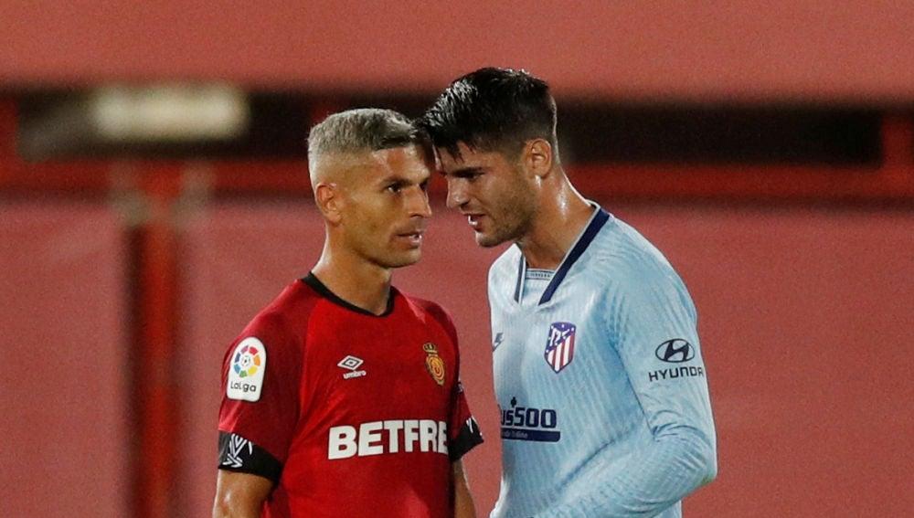 Morata se encara con Salva Sevilla