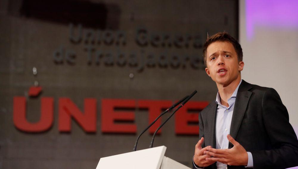 El portavoz de Más Madrid en el Parlamento regional, Íñigo Errejón, este miércoles, durante su intervención en la asamblea convocada por el partido.