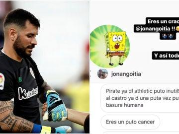 Iago Herrerín enseña los insultos que ha recibido de un aficionado