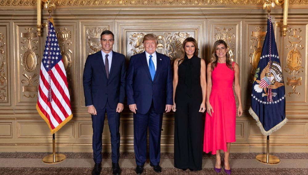 Donald Trump y Melania junto a Pedro Sánchez y Begoña Gómez