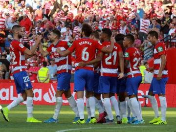 El Granada celebra un gol ante el Leganés